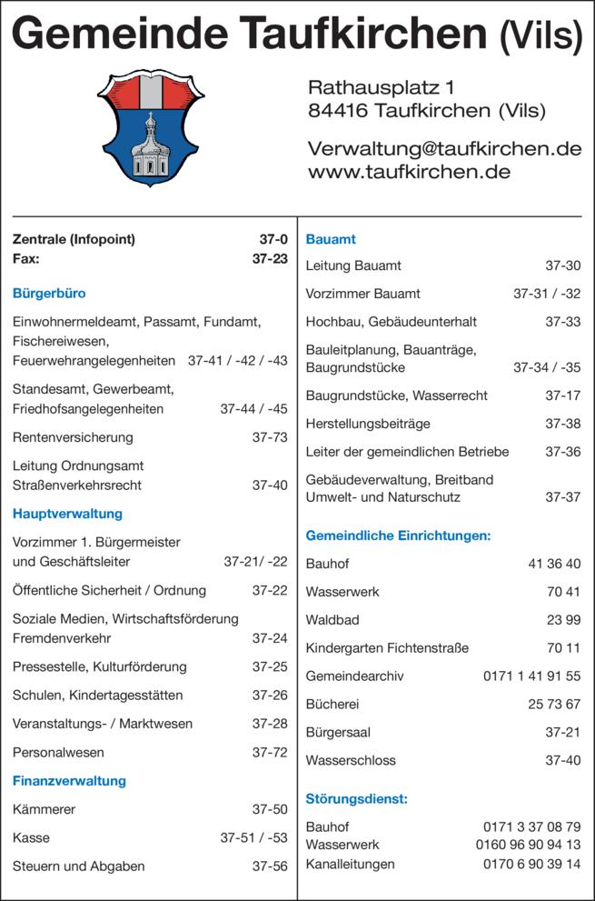 Anzeige Gemeinde Taufkirchen (Vils)
