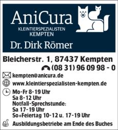 Anzeige Kleintierspezialisten Kempten GmbH Fachpraxis u. Überweisungszentrum , Dr.med.vet. Dirk Römer