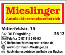 Anzeige Mieslinger Autolackierermeisterbetrieb
