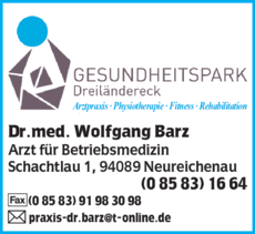 Anzeige Barz Wolfgang Dr.med.
