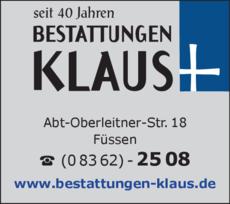 Anzeige Bestatter Klaus