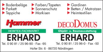 Hammer Raumausstatter hammer heimtex fachmarkt erhard in nördlingen in das örtliche