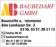 Anzeige A.B. Baubedarf GmbH