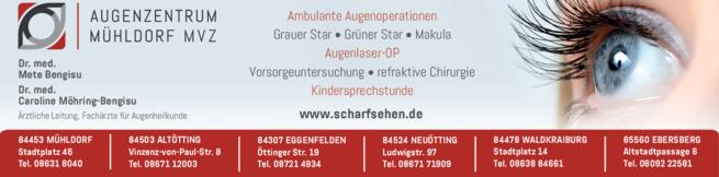 Anzeige Augenzentrum Mühldorf, überörtliche Gemeinschaftspraxis (PartGmbB) , Dr.med. Caroline Möhring-Bengisu, Dr.med. Mete Bengisu , Fachärzte für Augenheilkunde