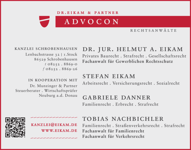 Anzeige ADVOCON Dr. Eikam & Kollegen