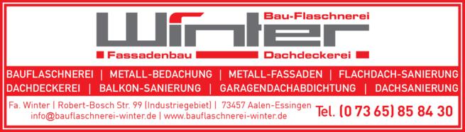 Anzeige Winter Bauflaschnerei