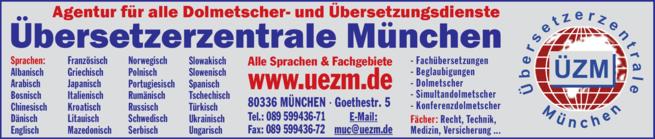 Anzeige Agentur für alle Dolmeschter- u. Übersetzungsdienste Übersetzerzentrale München