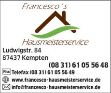Anzeige Francescos Hausmeisterservice
