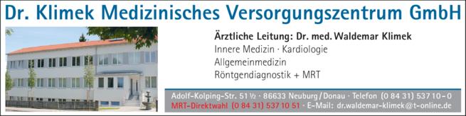 Anzeige Klimek Waldemar Dr.med.
