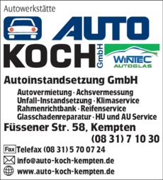 Anzeige Autowerkstätte Auto Koch Autoinstandsetzung GmbH