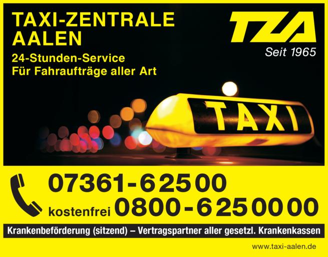 Anzeige Taxi-Zentrale Aalen