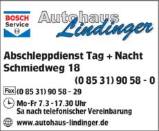 Anzeige Autohaus Lindinger
