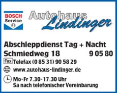 Anzeige Lindinger Autohaus