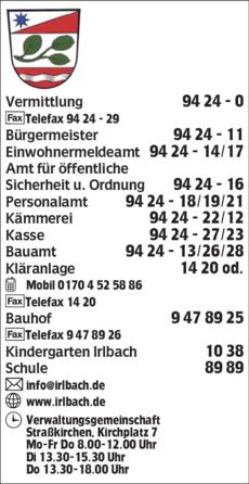 Anzeige Gemeindeverwaltung Irlbach