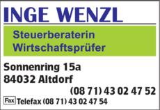 Anzeige Wenzl Inge , Steuerberaterin