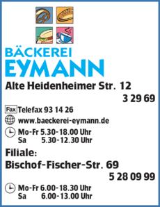 Anzeige Eymann Bäckerei