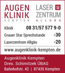 Anzeige Augenklinik Kempten und Laserzentrum Allgäu