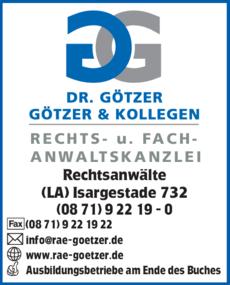 Anzeige Götzer W. Dr., Götzer D. & Kollegen