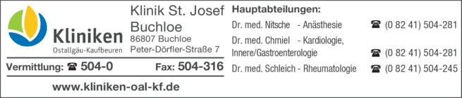Anzeige Klinik St. Josef - Buchloe