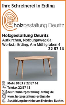 Anzeige Holzgestaltung Deuritz
