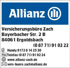 Anzeige Allianz Versicherungsbüro Zach