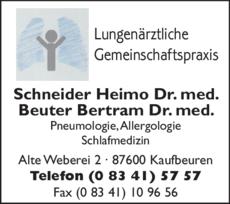 Anzeige Lungenärztliche Gemeinschaftspraxis Dr. Schneider & Dr. Beuter