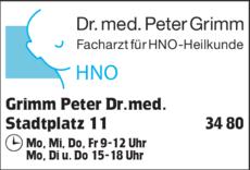 Anzeige Grimm Peter Dr.med., Facharzt für HNO-Heilkunde