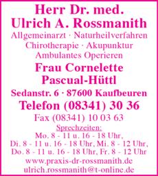 Anzeige Rossmanith Ulrich Dr.med.