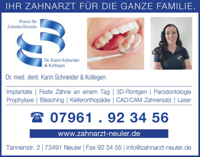 Anzeige Schneider Robert Dr.med.dent. , Schneider Karin Dr.med.dent.