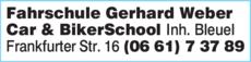 Anzeige Fahrschule Gerhard Weber