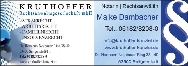Anzeige Rechtsanwalt Kruthoffer