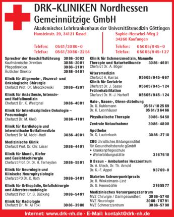 Anzeige DRK-Kliniken Nordhessen Gemeinnützige GmbH