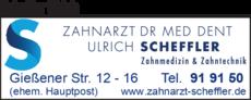 Anzeige Scheffler Ulrich Dr.med.dent. Zahnarzt & Zahntechniker