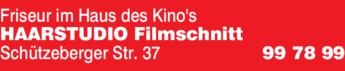 Anzeige Friseur im Haus des Kinos Haarstudio Filmschnitt