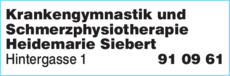 Anzeige Krankengymnastik und Schmerzphysiotherapie Heidemarie Siebert