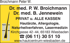 Anzeige Broichmann Peter W. Dr.med., Jennewein Burkhard Dr.med. Hautärzte