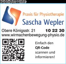 Anzeige Krankengymnastik Praxis für Physiotherapie Sascha Wepler