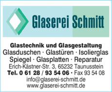 Anzeige Glaserei Schmitt GmbH & Co. KG GF Rainer Schmitt Glastechnik u. -gestaltung
