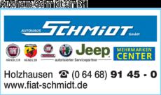 Anzeige Autohaus Schmidt GmbH