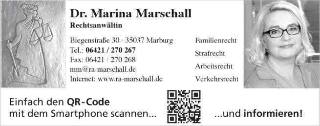 Anzeige Rechtsanwälte Marschall Marina Dr.