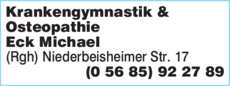 Anzeige Krankengymnastik & Osteopathie Eck Michael