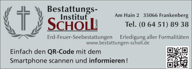 Anzeige Bestattungsinstitut Scholl GmbH