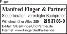 Anzeige Finger Manfred & Partner Steuerberater