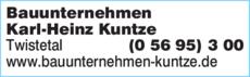 Anzeige Bauunternehmen Karl-Heinz Kuntze