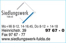 Siedlungswerk Fulda siedlungswerk fulda eg in fulda in das örtliche