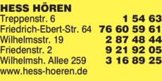 Anzeige Hess Hören Hörgeräte GmbH