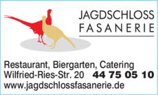 Anzeige Jagdschloss Fasanerie
