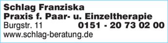 Anzeige Schlag Franziska Praxis für Paartherapie und Einzeltherapie