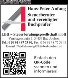 Anzeige Anfang Hans-Peter Steuerberater