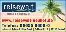 Anzeige reisewelt Teiser & Hüter GmbH